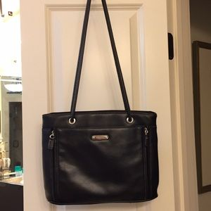 Black Rosetta Shoulder Bag